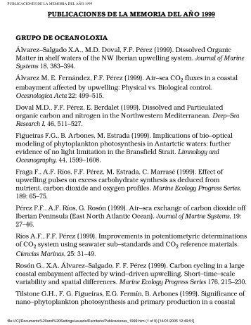 PUBLICACIONES DE LA MEMORIA DEL AÑO 1999