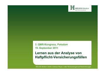 Lernen aus der Analyse von Haftpflicht ... - Qmr-kongress.de
