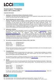 Examination Timetables - LCCI International Qualifications