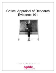 Critical appraisal of research evidence - INCLEN