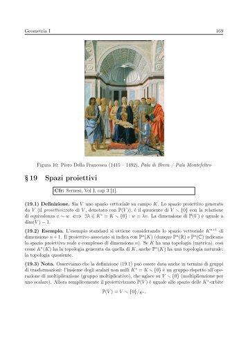 § 19 Spazi proiettivi - Matematica e Applicazioni