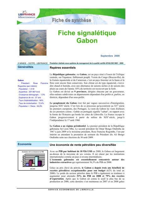 Fiche signalétique Gabon - ILE-DE-FRANCE INTERNATIONAL