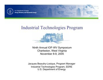 Industrial Technologies Program - Industries of the Future - West ...