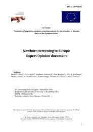 Newborn screening in Europe Expert Opinion document