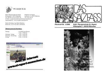 Pfarrbrief Nr. 1/2006 Kath. Pfarrgemeinde St. Rupert Kiliansplatz 1 ...
