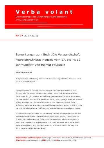 Die Verwandtschaft Feurstein/Christas Hensles vom 17 ... - Vorarlberg