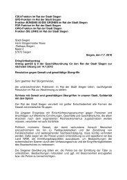 07.07.10 Gemeinsame Resolution gegen Gewalt und ... - SPD Siegen