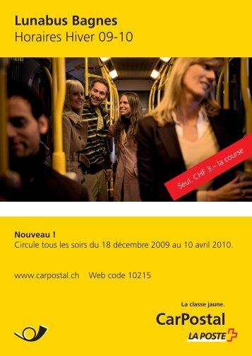 Lunabus Bagnes, Horaires Hiver 09-10 - Postauto