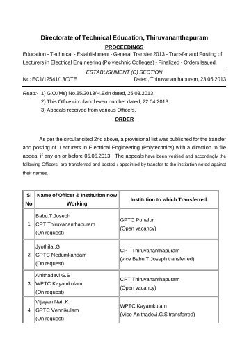 Order - Directorate of Technical Education