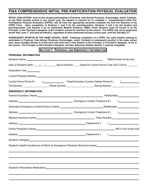 sports physical form maryland  Physical Form - Lebanon School District