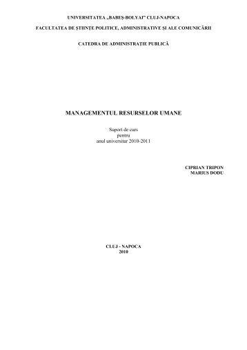managementul resurselor umane - Departamentul de Administraţie ...