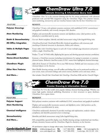 ChemDraw Ultra 7.0 ChemDraw Pro 7.0 - CambridgeSoft