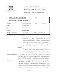 Chimica di Coordinazione LABORATORIO DI CHIM ICA - DipCIA