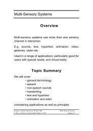 Multi-Sensory Systems Overview Topic Summary - Human ...