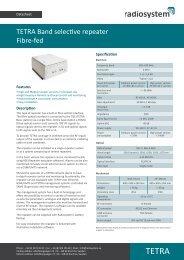 TETRA Band selective repeater Fibre-fed - Zenitel