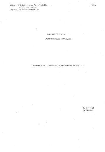 Interpreteur du Langage de Programmation ... - Colmerauer, Alain