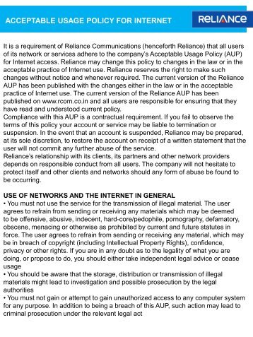 Acceptable Usage Policy - Reliance Communications