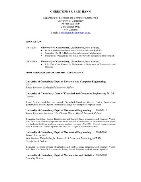 CHRISTOPHER ERIC HANN - University of Canterbury