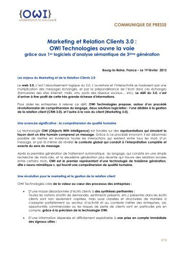Marketing et Relation Clients 3.0 : OWI Technologies ouvre la voie