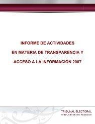 Informe Anual de Transparencia 2007. - Tribunal Electoral del Poder ...
