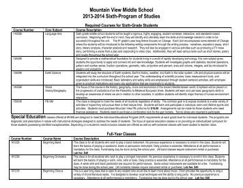 to access the MVMS Program of Studies - Mountain View Middle