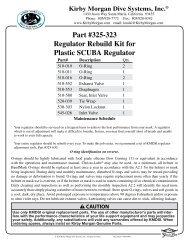 Kirby Morgan M-48 Supermask Regulator Rebuild Kit