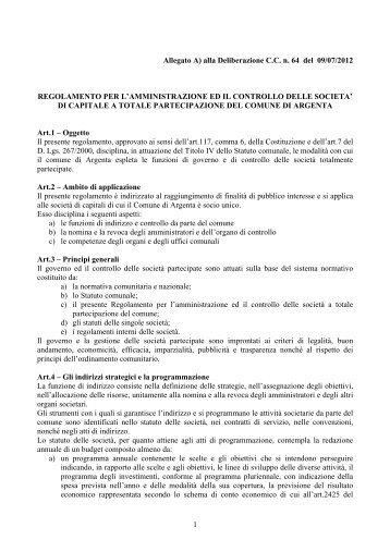 Allegato A) alla Deliberazione C.C. n. 64 del 09/07/2012 ...