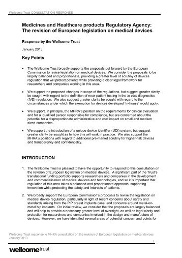 The revision of European legislation on medical ... - Wellcome Trust