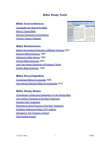 Bible Study Tools Bible Concordances Bible Dictionaries Bible ...