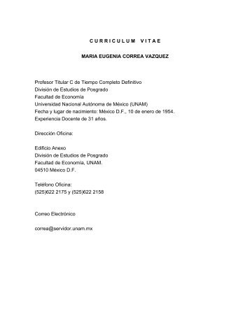 Curiculum Vitae - Centro de Estudio Sobre Desarrollo España-México