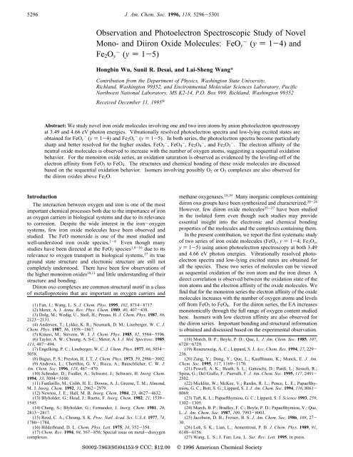 Observation and Photoelectron Spectroscopic Study of Novel Mono ...