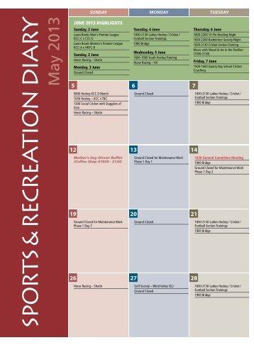 Sports & Recreation Diary