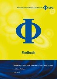 Findbuch - Deutsche Physikalische Gesellschaft