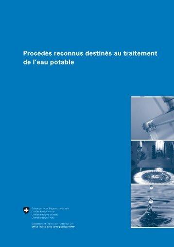 Procédés reconnus destinés au traitement de l'eau potable