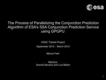 The Process of Parallelizing the Conjunction Prediction ... - ESA