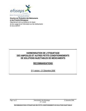 Harmonisation de l'étiquetage des ampoules et autres petits ... - ANSM