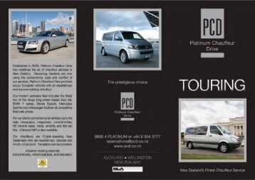 View our Touring Brochure - Platinum Chauffeur Drive
