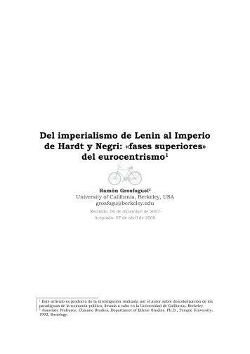 Del imperialismo de Lenin al Imperio de Hardt y Negri - Pontificia ...