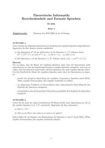 Blatt 5 - Fachgebiet Theoretische Informatik
