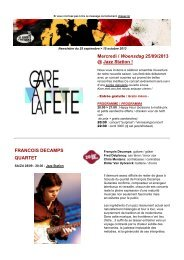 Mercredi / Woensdag 25/09/2013 @ Jazz Station ... - Jazz in Belgium
