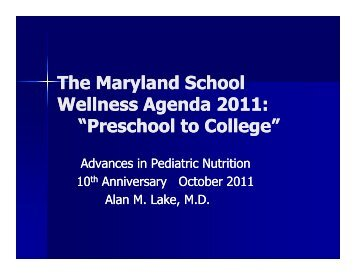 Preschool to College 2011 - Maryland Dietetic Association