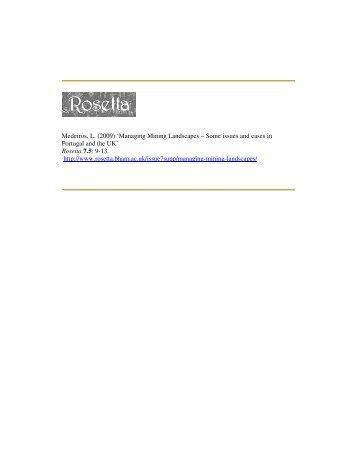 Managing Mining Landscapes - Rosetta - University of Birmingham