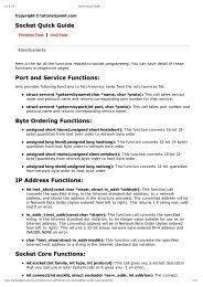 Socket Quick Guide Port and Service Functions: Byte Ordering ...