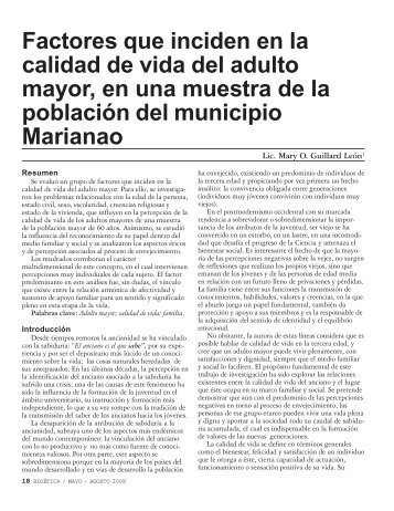 Factores que inciden en la calidad de vida del adulto mayor, en una ...