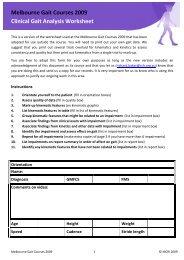 Melbourne Gait Courses 2009 Clinical Gait Analysis Worksheet