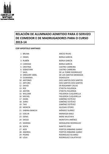 Listado de admitidos - Concello de Santiago de Compostela