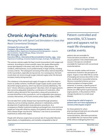 Chronic Angina Pectoris: - International Neuromodulation Society