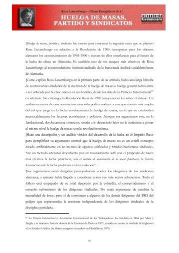 Rosa Luxemburgo - Huelga de masas partido y sindicatos