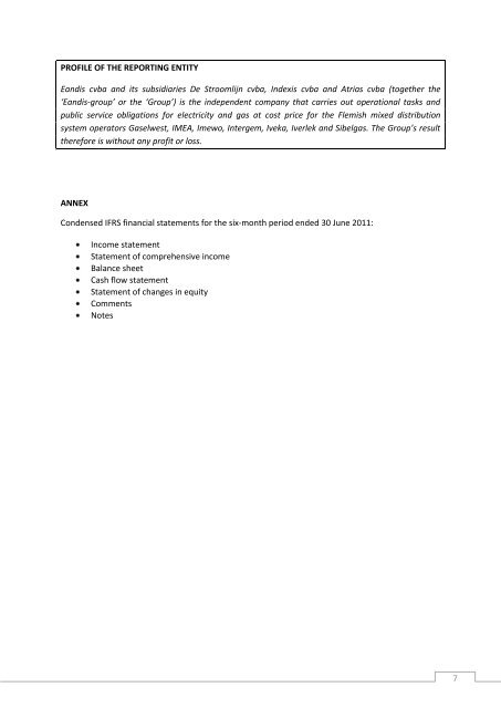 Eandis HY2011 report IFRS
