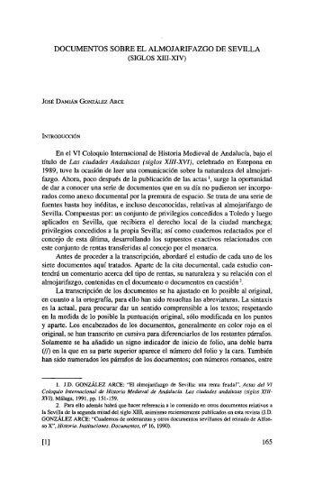 documentos sobre el almojarifazgo de sevilla (siglos xiii-xiv) - Dialnet